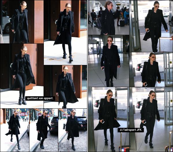 - 03.04.17 ─ Notre Gigi Hadid est photographiée alors qu'elle quittait son appartement dans les rues de New York ! [/s#00000ize]Gigi a cette fois ci laissé son appartement pour aller a l'aéroport JFK, toujours dans New York afin de se rendre dans la capitale française : Paris. Un top !   -