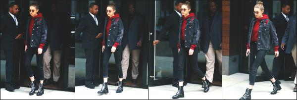 - 17.04.17 ─ Notre Gigi Hadid est photographiée alors qu'elle quittait son appartement dans les rues de New York ! [/s#00000ize]Une tenue que je n'aime pas trop non plus, même si elle reste assez basique... Je toruve que la tenue est trop sombre à mon gout. Encore un flop pr moi    -