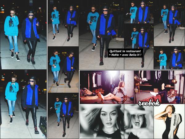 - 03.05.17 ─ La belle Gigi Hadid et sa soeur, Bella Hadid sont photographiée, allant dîner au « NoHo » à New York ! [/s#00000ize]Les deux soeurs profitent d'une soirée calme pour s'accorder un peu de temps a elles deux et elles ont bien raison d'en profiter!! Un flop pour la tenue ! -