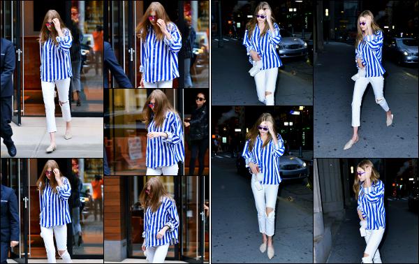 - 04.06.17 ─ Notre Gigi Hadid est photographiée alors qu'elle quittait son appartement dans les rues de New York ! [/s#00000ize]Un peu plus tard dans la journée, Gi' a été aperçue alors qu'elle allait au restaurant Nobu, comme il y a deux jours d'ailleurs. J'aime la tenue qu'elle porte  -