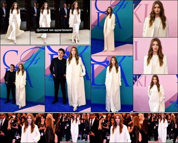 - 05.06.17 ─ La belle Gigi Hadid était présente à l'évènement « CFDA Fashion Awards » qui avait lieu à New York ! [/s#00000ize]Plus tôt, elle est photographiée alors qu'elle quittait son appartement, se rendant justement à cet event. Le look est très simple, mais plutôt jolie. Top !   -