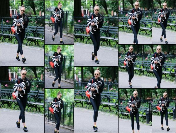 - 14.06.17 ─ Notre ravissante Gigi' Hadid est photographiée alors qu'elle se promenait dans les rues de New York ! [/s#00000ize]C'est en compagnie de son chien et toujours de son amie que nous retrouvons Gigi cette fois là, un peu après avoir quitté son appartement. La tenue bof. -