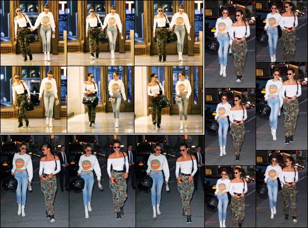 - 14.06.17 ─ Notre belle Gigi Hadid est photographiée alors qu'elle allait dîner au restaurant « Nobu » de New York.[/s#00000ize]C'est cette fois ci en compagnie de sa soeur, Bella que nous retrouvons Gigi ! Une petite soirée entre soeur ne fait pas de mal. Elles sont très souriante !!  -
