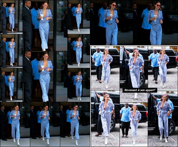 - 23.06.17 ─ Notre Gigi Hadid est photographiée alors qu'elle quittait son appartement dans les rues de New York ! [/s#00000ize]Une nouvelle journée pour Gigi, et c'est de nouveau devant son appart' qu'elle à été photographiée avec son café à la main. J'aime plutôt bien la tenue !  -
