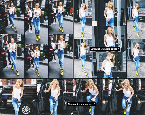 - 26.06.17 ─ Notre très belle Gigi Hadid est photographiée alors qu'elle arrivait devant un studio photo à New York[/s#00000ize]C'est le début d'une longue journée qui démarre pour la belle mannequin. Un peu plus tard, c'est en quittant le studio qu'on l'aperçoie de nouveau! Top ! -