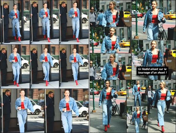 - 29.06.17 ─ Notre Gigi Hadid est photographiée alors qu'elle quittait son appartement dans les rues de New York ! [/s#00000ize]Gi' quittait son appartement dans un look total jeans cette fois ! Le make up qu'elle porte est vraiment sympa je trouve et lui va bien. Flop pour la tenue.  -