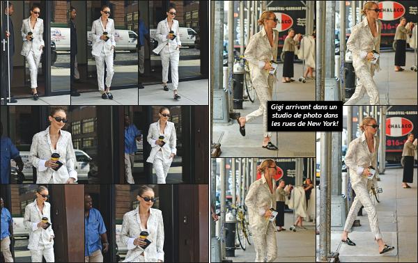 - 17.07.17 ─ Notre Gigi Hadid est photographiée alors qu'elle quittait son appartement dans les rues de New York ! [/s#00000ize]C'est avec son petit gobelet de café que Gigi démarre la journée qui sera bien chargée en sortie! Je n'apprécie pas vraiment la tenue qu'elle portait. Flop! -