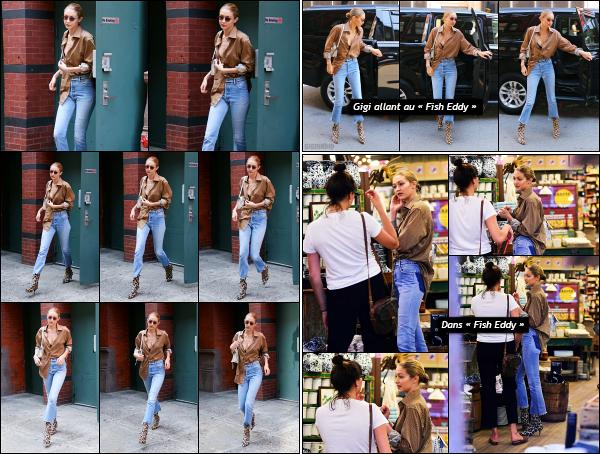 - 18.07.17 ─ Notre belle Gigi Hadid est photographiée, quittant le magasin « Fish Eddy » dans les rues de New York[/s#00000ize]Gigi va faire quelques emplettes en compagnie d'une amie à elle dans ce magasin là. Je trouve la tenue toujours aussi sympa, ce style lui va bien ! Top ! -