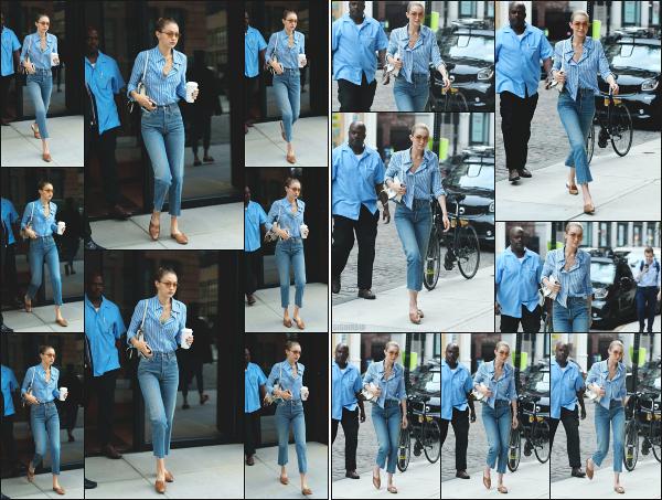 - 25.07.17 ─ Notre Gigi Hadid est photographiée alors qu'elle quittait son appartement dans les rues de New York ! [/s#00000ize]Un peu plus tard dans la journée, c'est en revenant à son appartement que Gigi a été une nouvelle fois photographiée. C'est une tenue plutôt sympa! Top -