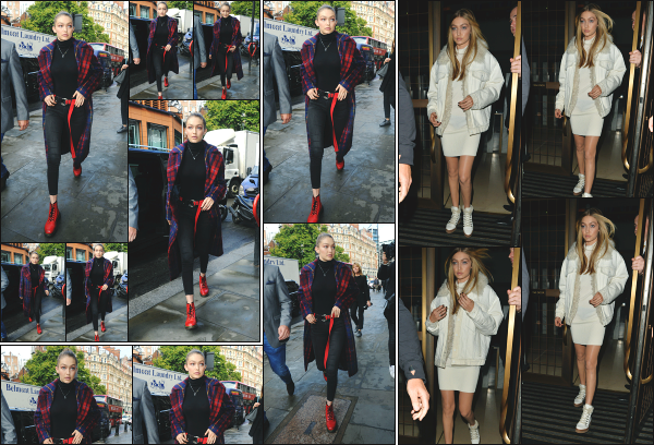 - 18.09.17 ─ La belle Gigi Hadid est photographiée, se rendant à l'hôtel ou elle réside durant son séjour à Londres ![/s#00000ize]Beaucoup plus tard dans la soirée, elle est aperçue en quittant de nouveau son hôtel, dans une tenue totalement différente et un make up bien chargée!     -