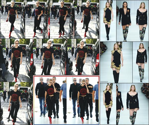 - 22.09.17 ─ La ravissante Gigi Hadid est photographiée alors qu'elle quittait le défilé « Versace » à Milan en Italie ![/s#00000ize] Gigi à donc défilé pour la célèbre marque Versace lors de la Fashion Week à Milan ! Une tenue simple mais plutôt jolie que j'aime bien. Un très beau top ! -