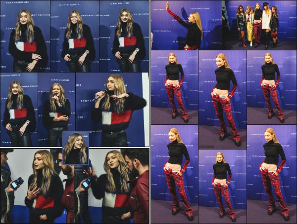 - 23.09.17 ─ La ravissante Gigi Hadid était présente au « TOMMYXGIGI Tour » pour voir ses fans dans Copenhague.[/s#00000ize] Le 26/09, c'est à Barcelone qu'elle se rend pour de nouveau rencontrer ses fans lors de cette petite tournée, qu'elle a aussi réalisée en février dernier. Top -