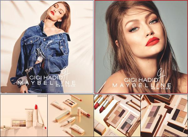 """ • Quelques clichés de la collaboration de Gigi Hadid avec la marque « Maybelline » ! -"