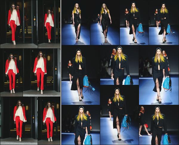 - 24.02.17 ─ La belle Gi' Hadid est photographiée alors qu'elle se rendait au défilé « Versace » qui si passe à Milan ![/s#00000ize] Gigi Hadid se rend sur les lieux du défilé car elle défilera pour la marque quelques heures plus tard ! Sa tenue est plutôt sympa, bien colorée en tout cas !  -