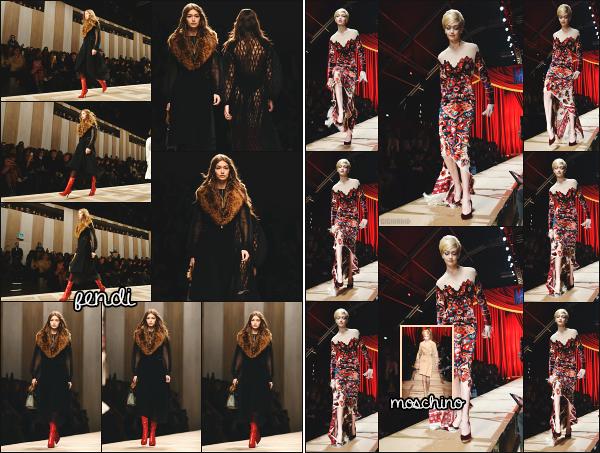 - 23.02.17 ─ Notre ravissante Gigi Hadid est photographiée alors qu'elle défilait pour la marque « Fendi »  à Milan ![/s#00000ize] Gigi Hadid n'arrête pas les défilés pour l'occasion de la Fashion Week de Milan ! Elle a ensuite défilé pour Moschino ! Gigi était vraiment très belle! Un top.  -