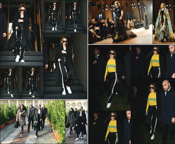 - 22.02.17 ─ Gigi Hadid est photographiée alors qu'elle se rendait au défilé « Alberta Ferretti » qui si passe à Milan.[/s#00000ize] Gigi Hadid se rend sur les lieux du défilé car elle défilera pour la marque quelques heures plus tard ! Plus tard, elle est vue alors qu'ellequittait le défilé ! -