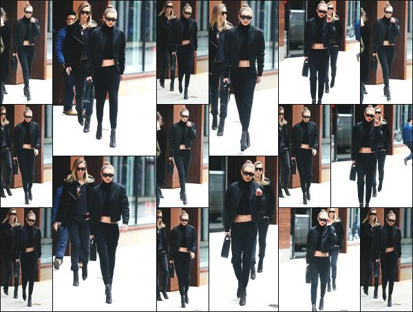 - 02.02.17 ─ Notre Gigi Hadid est photographiée alors qu'elle quittait son appartement dans les rues de New York ! [/s#00000ize]Gigi portait une tenue très simple ce jour là, avec ses cheveux attachés ! J'aime plutôt bien son look, même s'il n'y a rien de fou. Je lui donne un beau top -