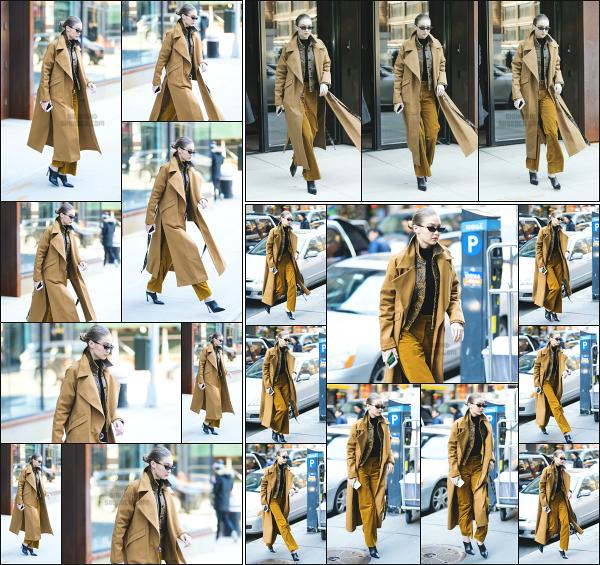 - 03.02.18 ─ Notre Gigi Hadid est photographiée alors qu'elle quittait son appartement dans les rues de New York. [/s#00000ize]Gigi H. quittait son appartement ce jour là pour se rendre en plein centre ville de New York ! Plus tard, on l'aperçois revenir chez elle.  C'est un petit flop ! -