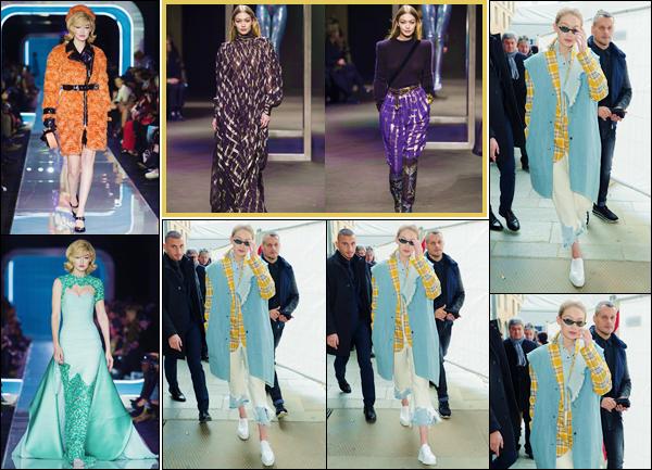- ''•-21/02/18-' : Gigi Hadid défilait pour la marque « Alberta Ferretti » à la Fashion-Week, se déroulant à Milan. De plus, la belle a défilé sur le podium de « Moschino », tout comme sa petite s½ur Bella Hadid ! Un défilé qui est très haut en couleur. -