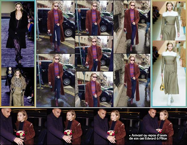 - ''•-22/02/18-' : Gigi Hadid défilait cette fois-ci pour la marque « Max Mara » lors de la Fashion-Week de Milan. La blonde a par la suite défilé sur le podium de la nouvelle collection de la marque « Fendi » aux côté de sa petite s½ur Bella. Gros bof ! -