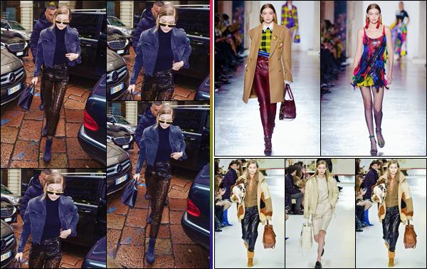 - ''•-23/02/18-' : Gigi Hadid défilait pour la prestigieuse marque « Versace » pour la Fashion-Week 2018 de Milan. Le même jour, Gigi a aussi défilé pour la marque « Tods » en compagnie de Bella. Elle a ensuite été photographiée dans les rues à Milan ! -