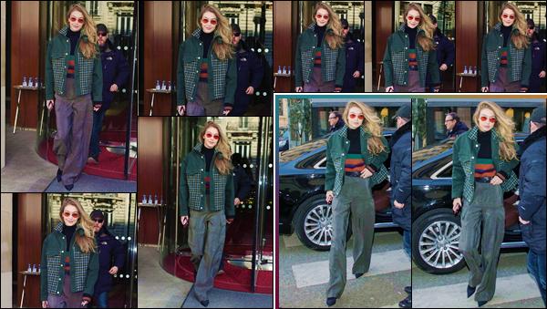 - ''•-28/02/18-' : Gigi Hadid quittait à nouveau son hôtel « Le Royal Monceau » qui se trouve dans la ville de Paris. À nouveau photographiée en déambulant dans les rues parisiennes, Gigi Hadid s'y trouve pour la Fashion-Week 18 de Paris. Un gros bof ! -
