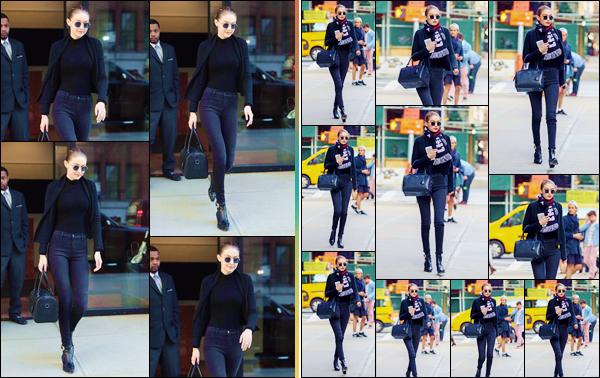 - ''•-11/04/18-' : Gigi Hadid a été photographiée en quittant à nouveau appartement, se situant dans Manhattan. Gigi Hadid a aussi été photographiée alors qu'elle se baladait dans les rues de la Grosse Pomme, avec un écharpe autour du cou. Un top ! -