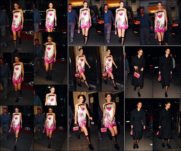 -03/03/2019- ─ Gigi Hadid a été photographiée, alors, qu'elle quittait son hôtel « Le Royal Monceau », étant, dans - Paris.La mannequin a été photographiée arrivant puis quittant la soirée « American In Paris » puis plus tard quittant son hôtel de nouveau. C'est un beau top !