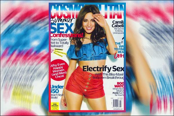 """- """"-♦ MAGAZINE-"""" Camila Cabello a fait une nouvelle fois la couverture du magazine « Cosmopolitan » pour l'édition de Juillet ! ▬ Les stylistes ont opté pour un look bleu & rouge. -"""