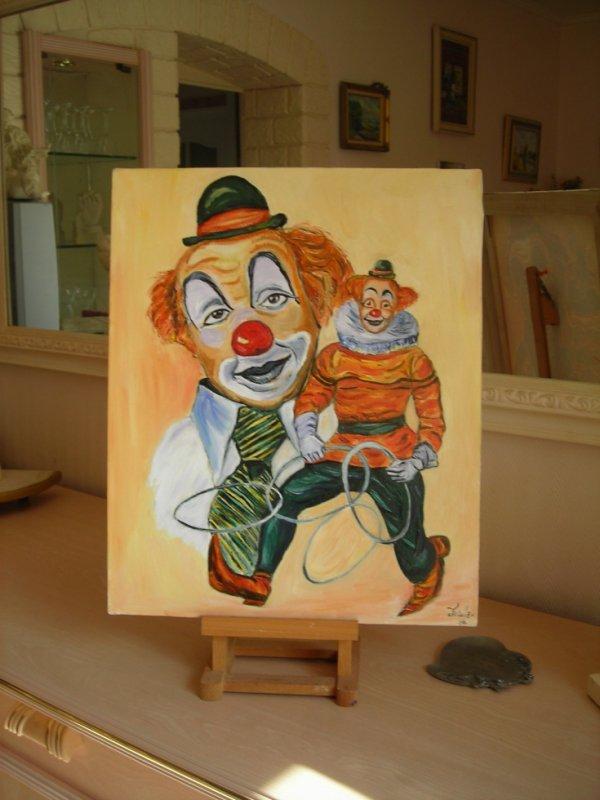 pour mes amis passionnés du cirque,petites toiles de ma moitié