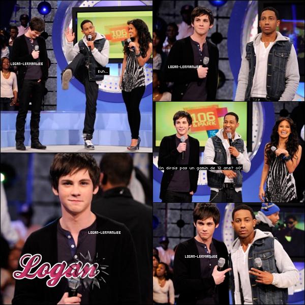 ".Flashback:Talk Show  Vendredi 04 Fevrier 20I0:Logan et un de ses co-stars de ""PJ"" dans le Talk Show ""BETs I06 Park"".   ."