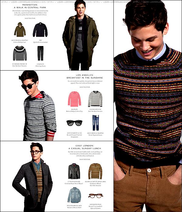 """Et encore un shoot ! Cette fois-ci Logan a fait le mannequin pour un site de vêtement en ligne dont il est l'égérie,""""Mr Porter"""". Dessus il porte des marques tels que Ralph Lauren,Givenchy,Gucci,Levi's etc..."""