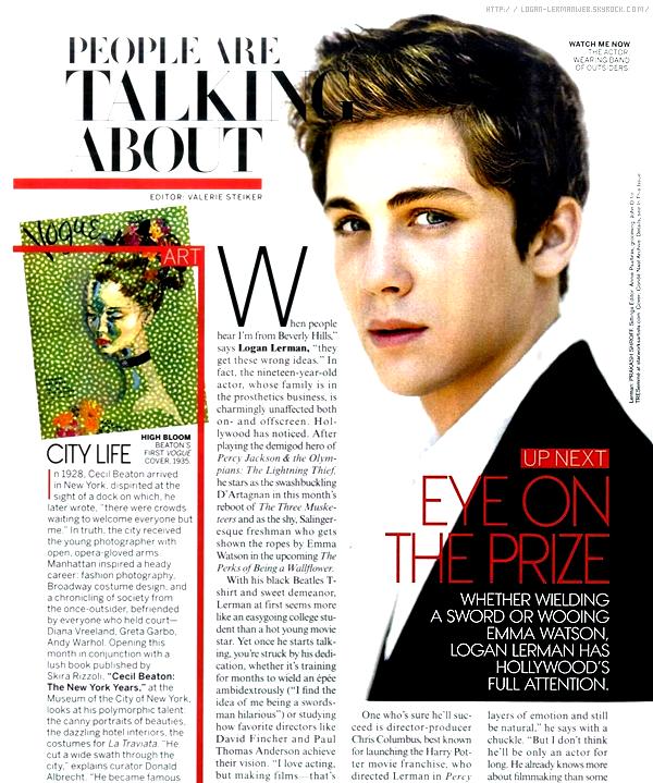 Voici une page du prestigieux magazine Vogue centrée sur Logan.