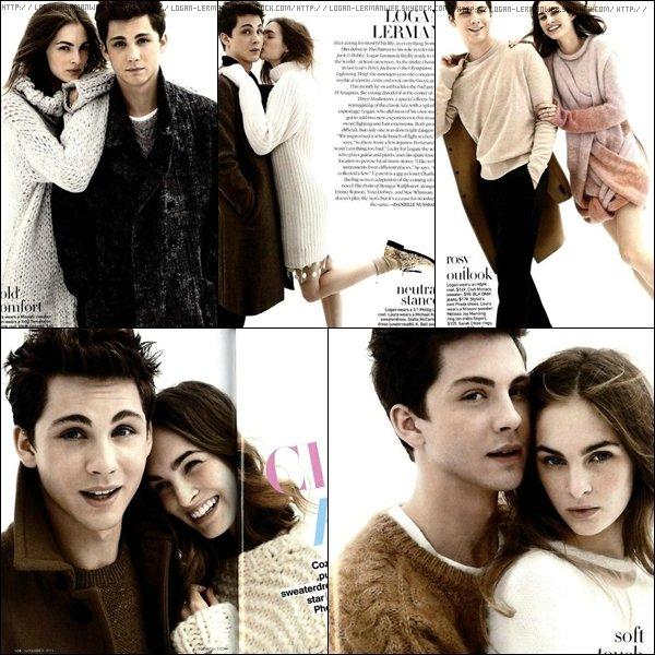 Logan et une mannequin (?) posant pour le magazine  teenVOGUE. J'aime ce shoot,mais je trouve la fille pas super belle même si j'avoue être jalouse de ce qu'elle porte. Logan a de superbes tenues.