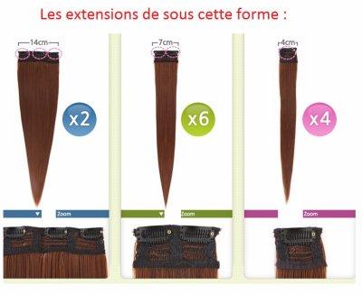 12 extensions de cheveux synthétique à 45e ou 35 en main propre. sur commande