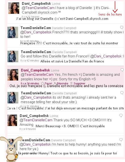 """Comme vous le saviez, j'ai réussis à parlé avec des """"amies"""" de Danielle via Twitter Je vous mets donc  les captures d'écrans de notre conversation:"""