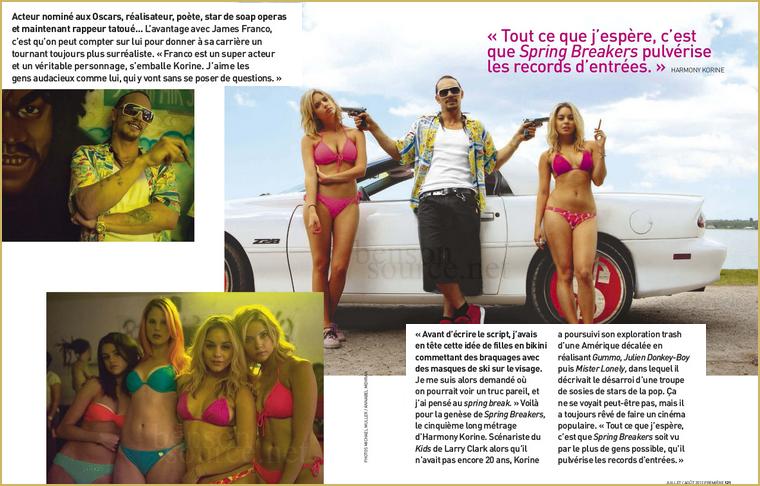 ;  Découvrez en excluvisité des scans du magazine Première (français) dédiée à Spring Breakers. ;