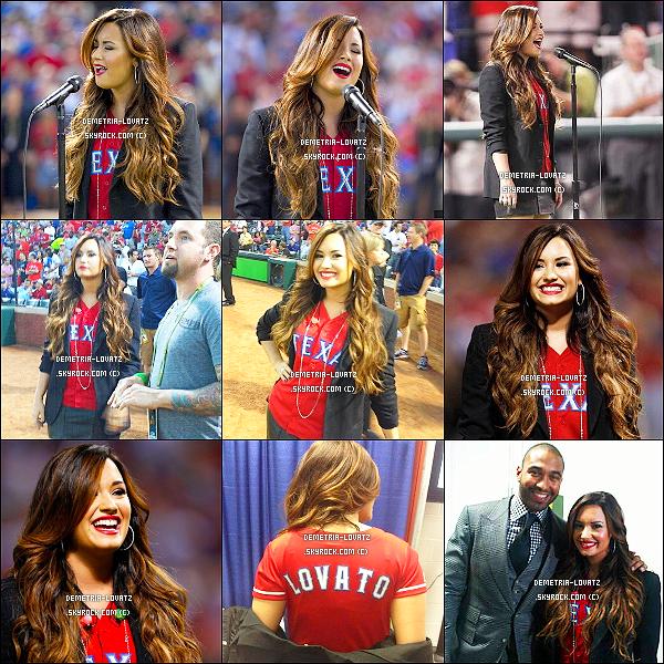 24/10/11 : La magnifique Demetria Lovato a chanté l'hymne national américain à un match de baseball, au Texas.Demi a chanté pour la troisième fois l'hymne national américain pour le plaisir de nos oreilles... Que penses-tu de sa prestation ?