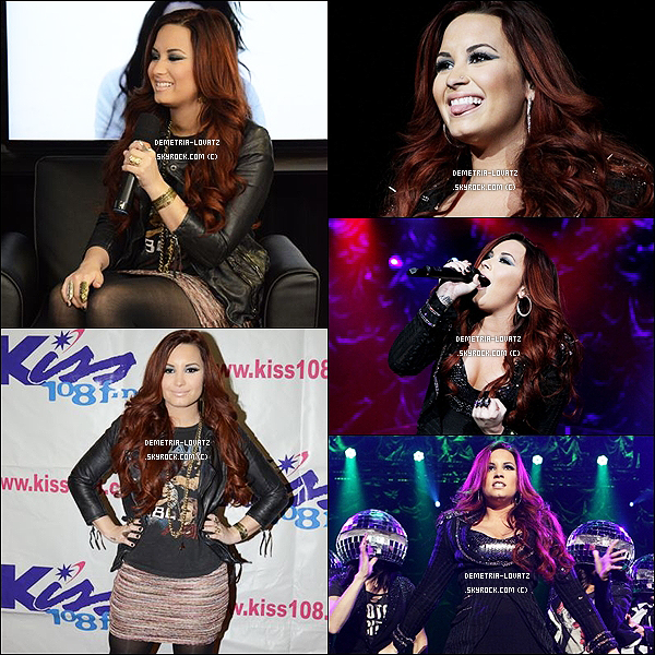 08/12/11: Demi Lovato a performé au « Kiss 108 FM's Jingle Ball 2011 » puis a donnée une interview.Top ou Flop ?Demi sort beaucoup ces temps-ci, elle donne des concerts et des Meet & Greet. Tu aimes bien sa nouvelle couleur de cheveux ?