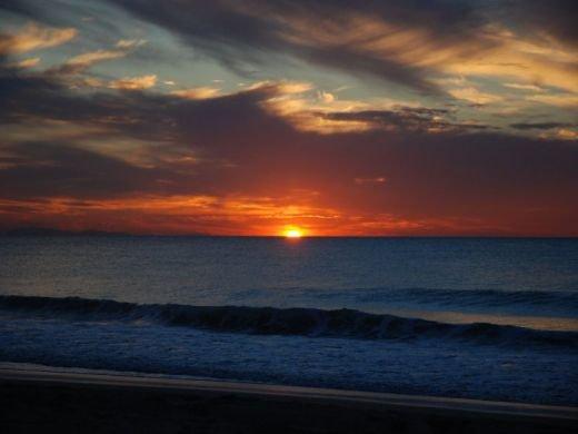 Coucher de soleil sur la plage de Biarritz