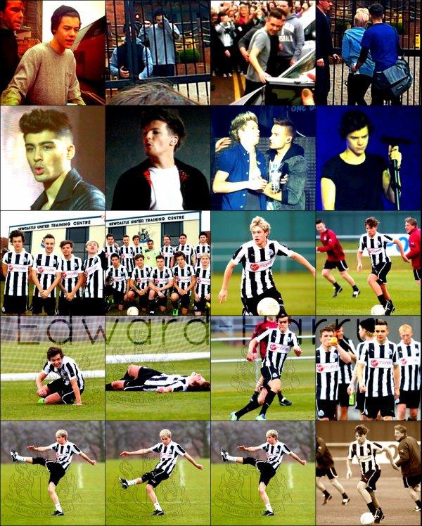 10.04 - Les One Direction ont été vue à leurs hôtel à Newcastle +  faisant un concert à Newcastle + Niall, Liam Louis et Harry faisant du foot sur un stade.