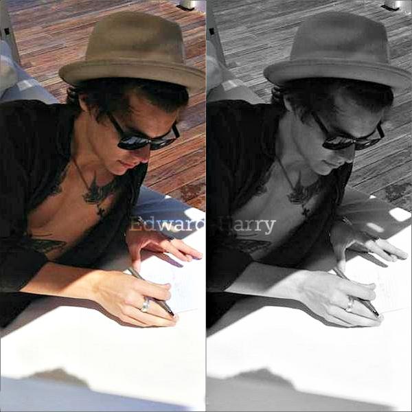 22.05 - Harry à été vue au balcon de la piscine de son hôtel à Barcelone.