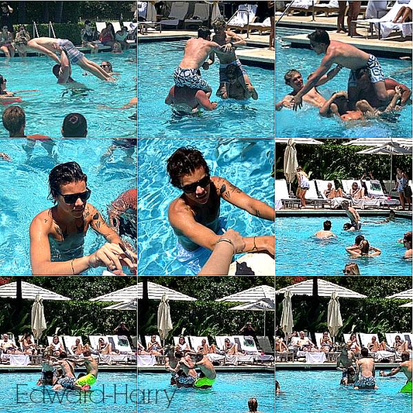 14.06 - Harry et Niall faisant une bataille dans la piscine de leurs hôtel à Miami.