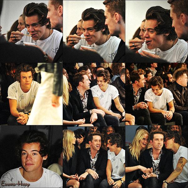 16.09 - Harry au salon Burberry Prorsum pour la  Fashion Week SS14 à Kensington Gardens, Londres.