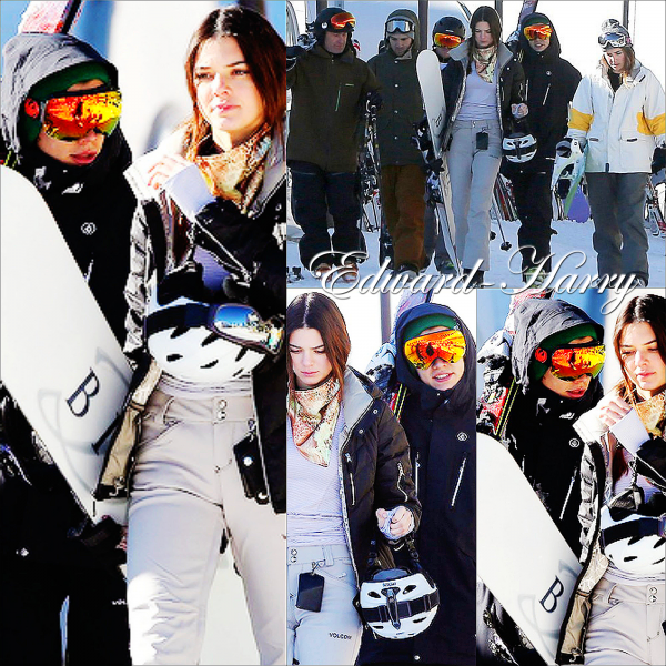 02.01 - Harry, Kendall et un groupe d'amis ski à Mammoth en Californie.