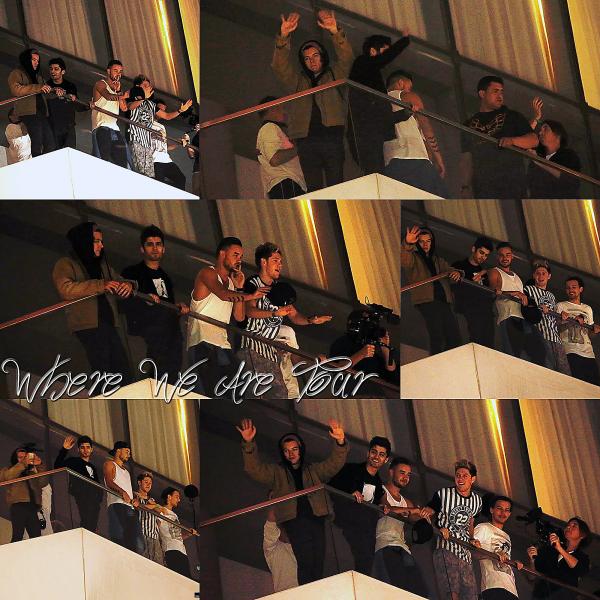 Cette nuit les One Direction ont été vue sur le balcon de leurs hôtel à Lima au Pérou.
