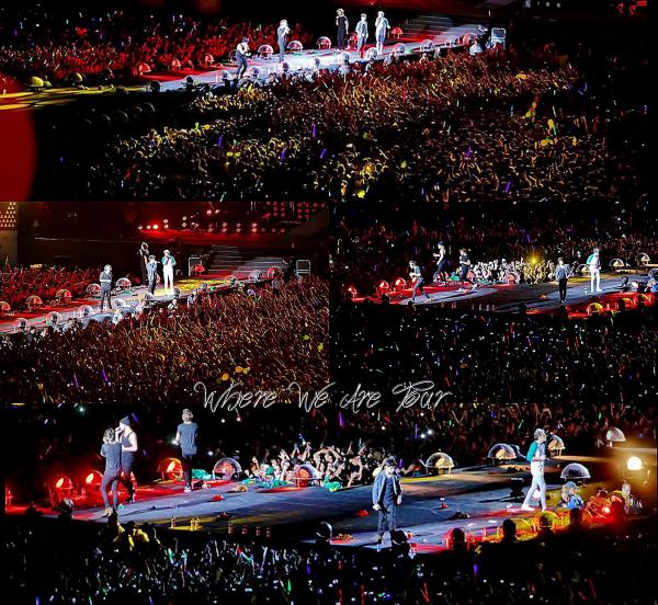 10.05 - Les One Direction interprétant leurs neuvième concert pour tournée le Where We Are Tour au stade de Sao Paulo au Brésil.