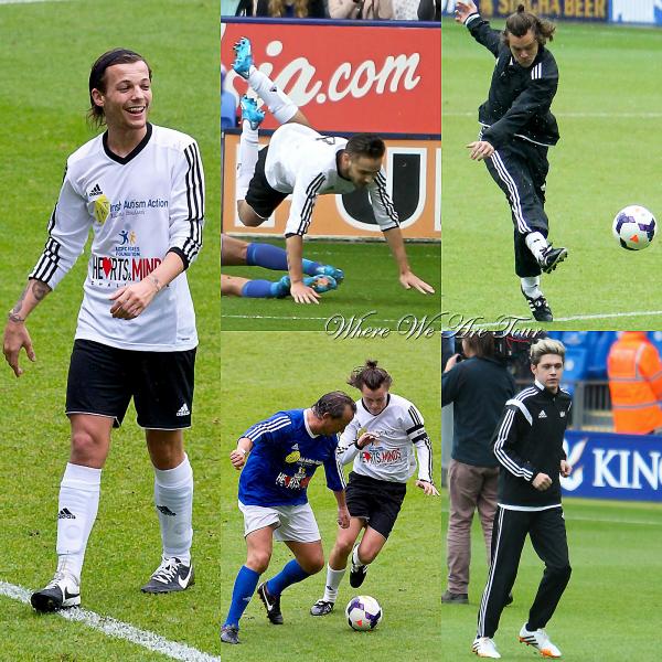 26.05 - Les One Direction ont été à un math de charité Leicester au Royaume-Uni.
