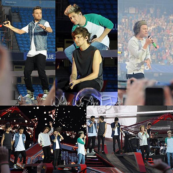 31.05 - Les One Direction interprétant leurs seizième concert pour tournée le Where We Are Tour au stade de Manchester au Royaume-uni.