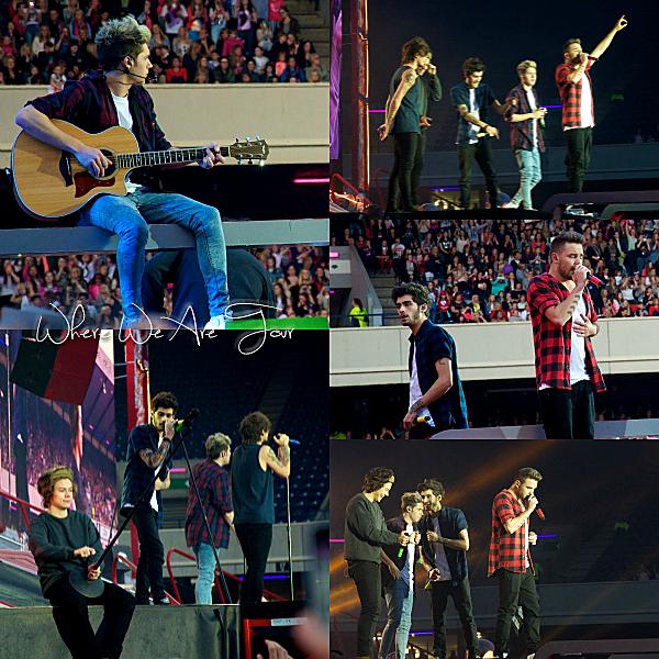 03.06 - Les One Direction interprétant leurs dix-huitième concert pour tournée le Where We Are Tour au stade de Murrayfield à Edimbourg.